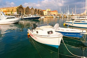 Old harbour in the morning, Chania, Crete, Greece