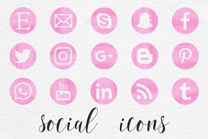 Pink Watercolor Social Icons