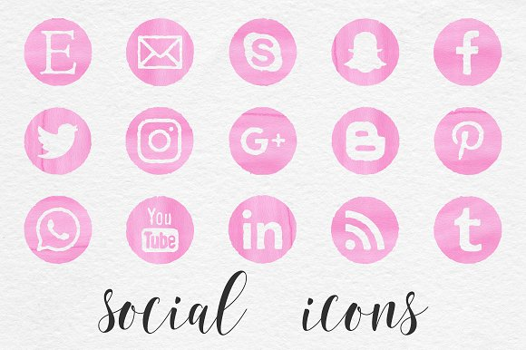 Pink Watercolor Social Icons