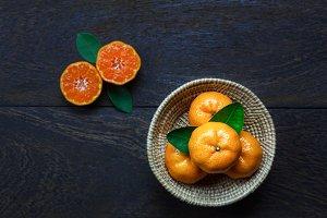 Top view fresh orange.