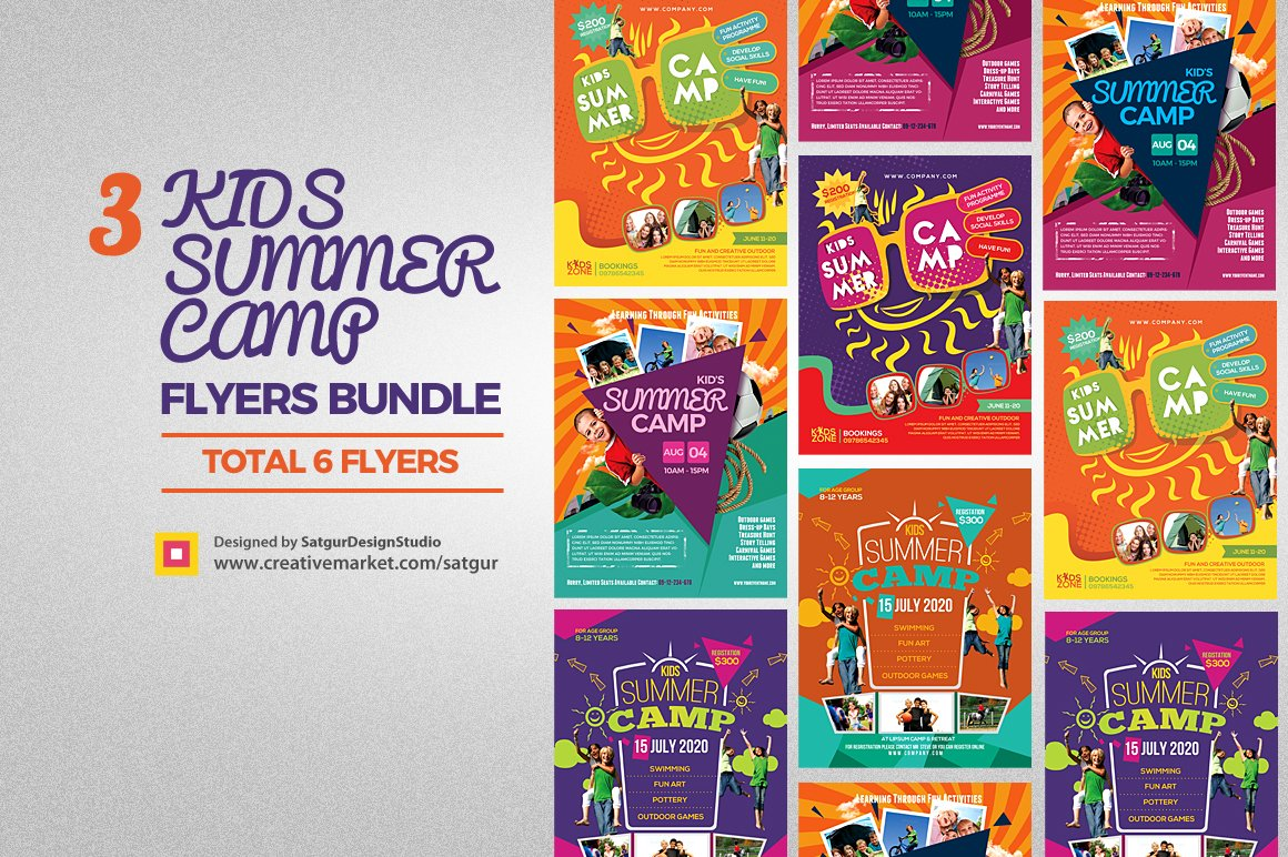 kids flyer photos graphics fonts themes templates creative kids summer camp flyers bundle