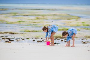 Adorable little girls playing during low tide on the beach