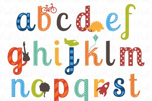 Boy Alphabet Clipart & Vectors