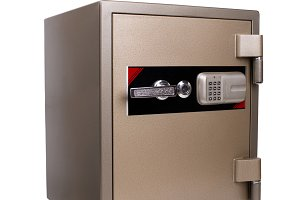 Security bank safe isolated on white