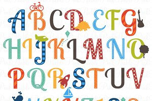 Boy Alphabet Clipart & Vectors 2