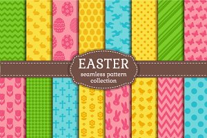 Easter seamless patterns set