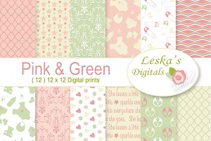 Baby Girl Digital Paper, Baby Shower