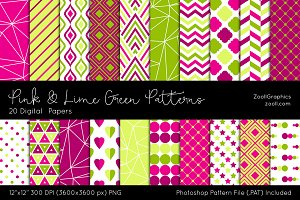 Pink & Lime Green Digital Papers