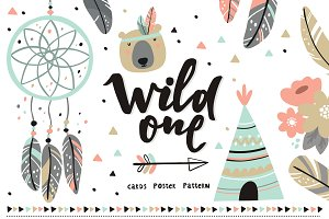 Boho vector card poster, be wild