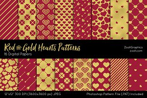 Red & Gold Hearts Digital Papers