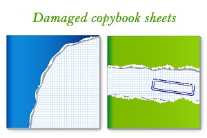 Damaged copybook sheets: set of 2