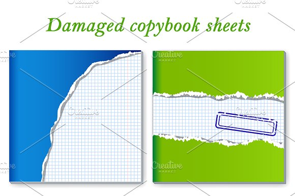 Damaged Copybook Sheets Set Of 2