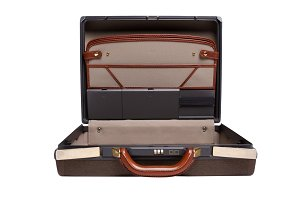 Opened brown briefcase isolated