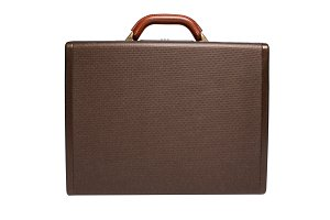Brown briefcase isolated on white