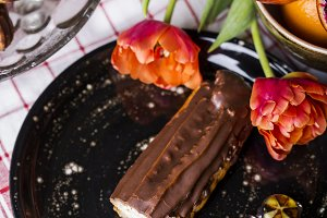 Eclair with chocolate icing