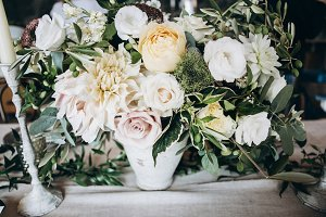 Flowers decor on wedding table