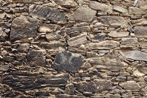 Burnt stone wall