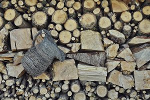 Chopped wood and jug