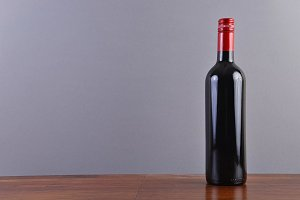 Red wine bottle frontal