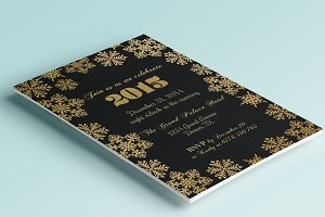 Gold New Years/Christmas invitation