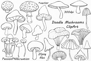 Doodle Mushrooms Clipart