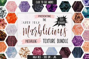 Metallic Marble Texture Mega Bundle