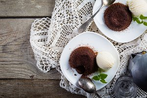 Chocolate fondant - lava cake with vanilla ice cream