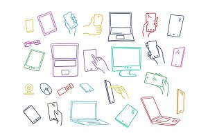 Set sketch gadgets, smartphone in hands. Monitors Electronics tablets. Illustration line, hand drawn