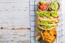 Mexican food - tacos, salsa, guacamole