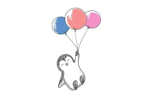 Cute penguin flying with helium balloons