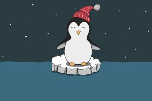 cute penguin dressed in red hat