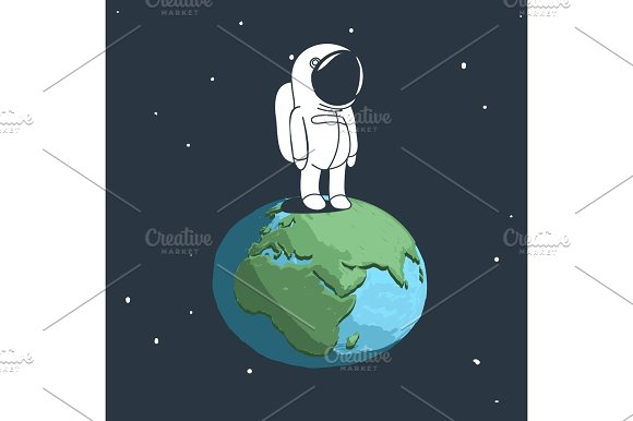 Cute Astronaut Stand On Earth