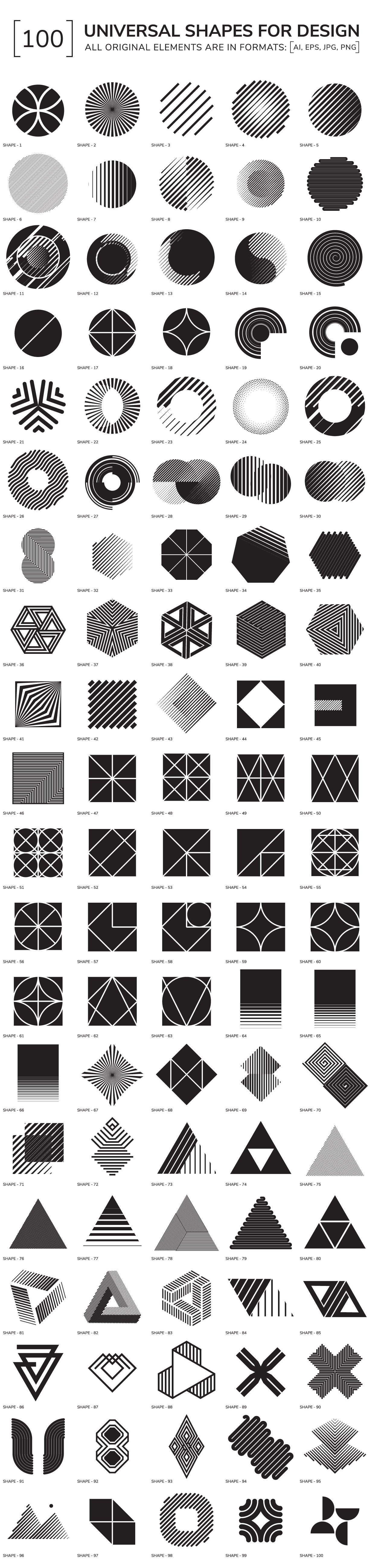 100 geometric shapes ~ Graphic Objects ~ Creative Market