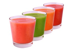 Collection of colored smoothie