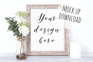 Wooden Frame Mockup Styled Photo