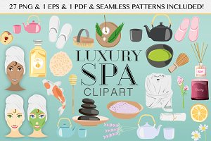 Spa Clipart & Seamless Patterns