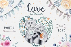 Love collection with raccoons