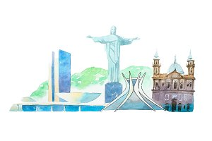 Famous Brazil landmarks travel and tourism waercolor illustration.