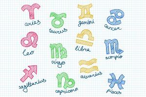 Pencil Doodle Zodiac Symbols