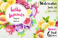 Watercolor juicy fruit Vector Set