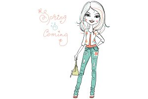 Vector cute fashionable girl