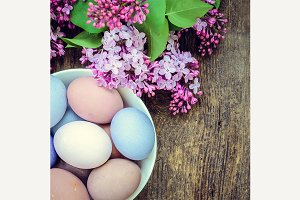 Easter eggs and lilac