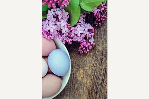 Easter background with eggs and lilac