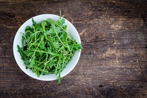 Fresh arugula in a plate