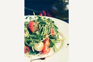 Fresh, summer salad with arugula leaves