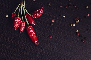Dried red hot mini chili peppers