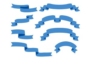 Collection of Ribbons - With blue - vector eps10
