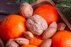Tangerines with nuts