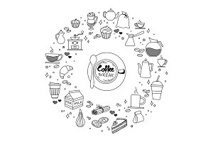 Coffee and cake time doodles hand drawn sketchy vector icon symbols objects