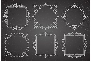 Set of Victorian Vintage Decoration Frames. Flourishes Calligraphic Ornament Frames. Retro Style Frame Collection for Invitations, Posters, Placards, Logos